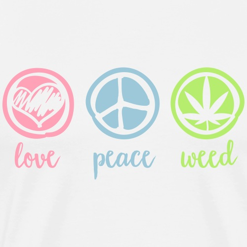 Cannabis love and peace and weed dope marijuana - Men's Premium T-Shirt