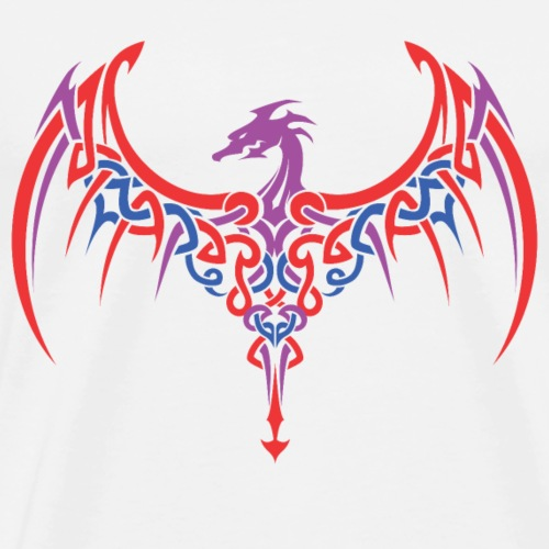 Fierce Dragon Tattoo Design Epic Calligraphy Style - Men's Premium T-Shirt