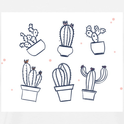 Cute Cactus Doodles - Men's Premium T-Shirt