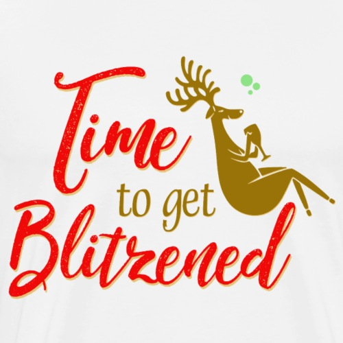 Christmas Time To Get Blitzened Deer Drinking Wine - Men's Premium T-Shirt