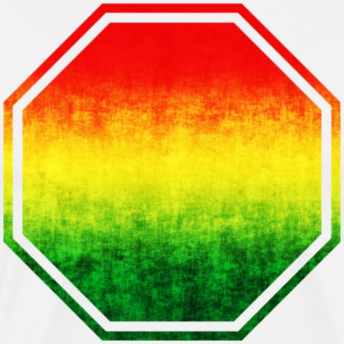 Rasta Colors Stop Sign- Add Your Text Here - Men's Premium T-Shirt