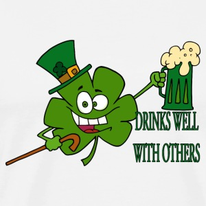 St. Patricks Irish Beer - Drinks Well With Others - Men's Premium T-Shirt