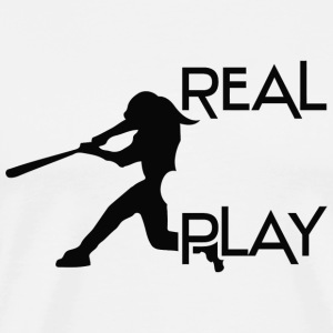 Baseball - Real girls play baseball - Men's Premium T-Shirt