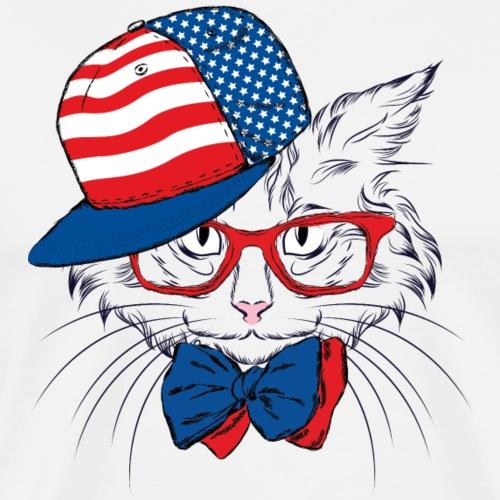 American flag cat T shirt Design Animal Lovers Tee - Men's Premium T-Shirt