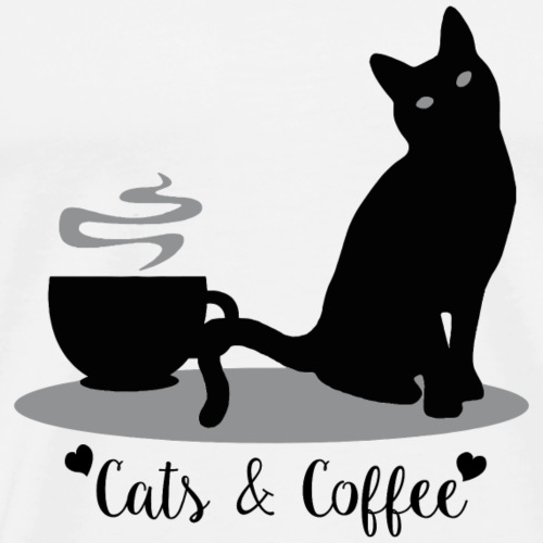 Cats & Coffee - Black Design - Men's Premium T-Shirt