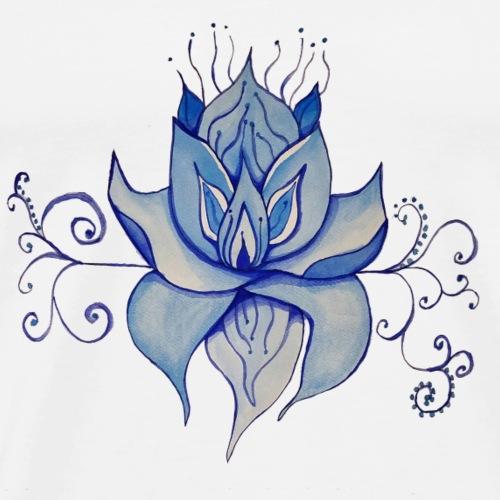 Watercolor Blue Lotus Design - Men's Premium T-Shirt