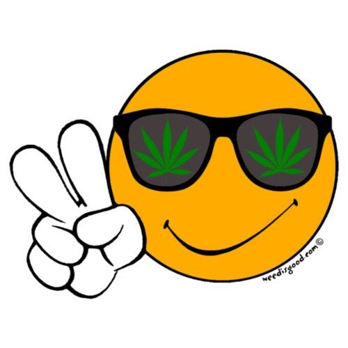 Cool Smiley Peace Weed Sunglasses - Men's Premium T-Shirt