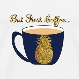 Gold Foil Pineapple Coffee Cup Design - Men's Premium T-Shirt