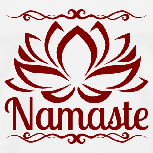 namaste lotus - maroon red - white outline - Men's Premium T-Shirt