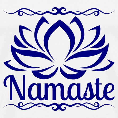 namaste lotus - navy blue - white outline - Men's Premium T-Shirt