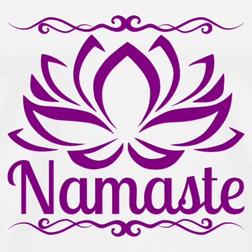 namaste lotus - purple - white outline - Men's Premium T-Shirt