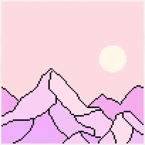 Purple PIxel Dream Mountain - Men's Premium T-Shirt