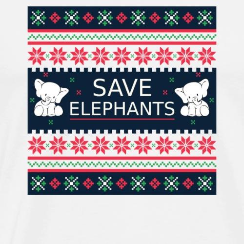 Save Elephants Ugly Christmas Nature Planet Gift - Men's Premium T-Shirt