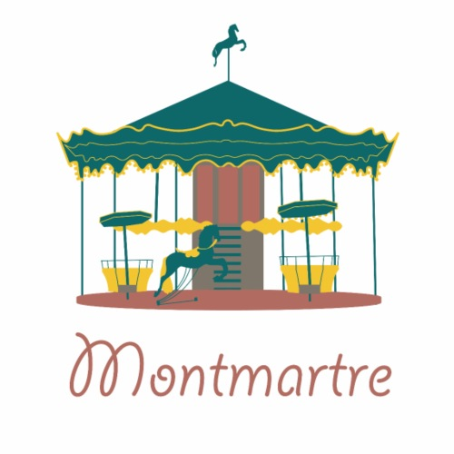 Cute Montmartre Carousel Logo Gift Present Idea - Men's Premium T-Shirt