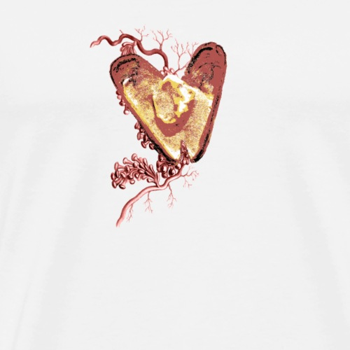 Red Seashell Heart With Gold and Seaweed Veins
