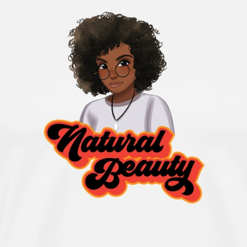 Curly Natural Hair Beauty with Glass - Men's Premium T-Shirt