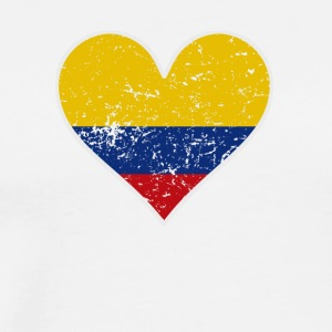 Distressed Colombian Flag Heart - Men's Premium T-Shirt