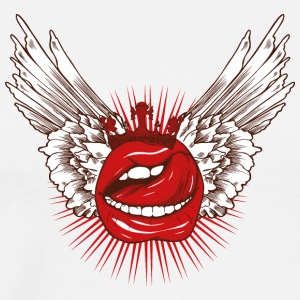 Mouth lips wings crown tattoo cool art - Men's Premium T-Shirt