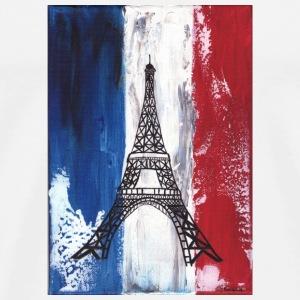 Grunge Paris flag and Eiffel tower - Men's Premium T-Shirt
