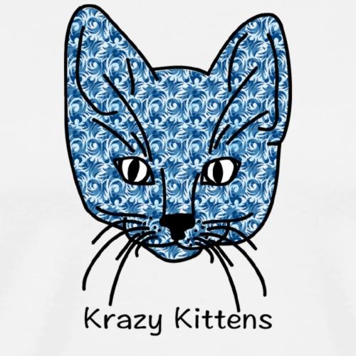 Krazy Kittens Blue Swirl - Men's Premium T-Shirt