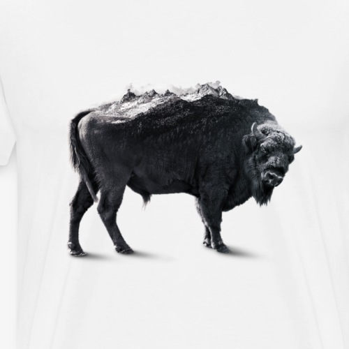 Bison Black and white Double exposure