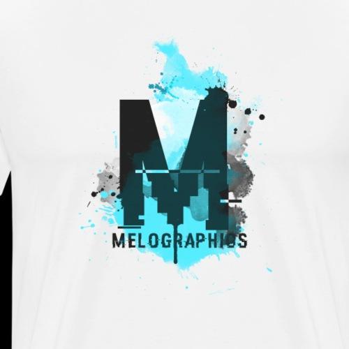 Melographics   M Logo & Script - Watercolor - Men's Premium T-Shirt