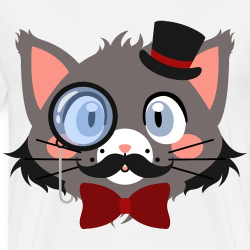 Bearded Gentleman Cat with Top Hat and Red Bow Tie - Men's Premium T-Shirt