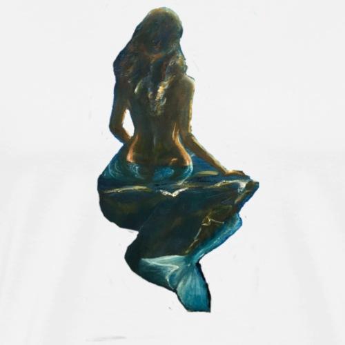 Midnight Mermaid on a rock - Men's Premium T-Shirt