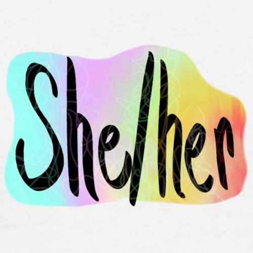 She/Her 1 - Small (Nametag) - Men's Premium T-Shirt