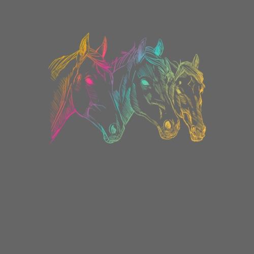 Hand drawn horses heads, illustration, rider - Men's Premium T-Shirt