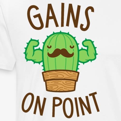 Gains On Point (Cactus Pun) - Men's Premium T-Shirt