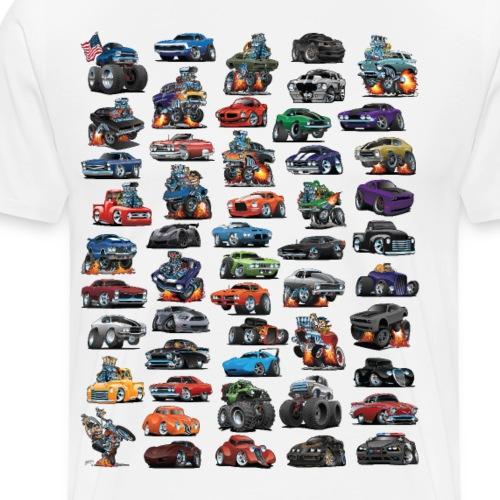 Muscle Cars, Hot Rods, Trucks and a Chopper - Men's Premium T-Shirt