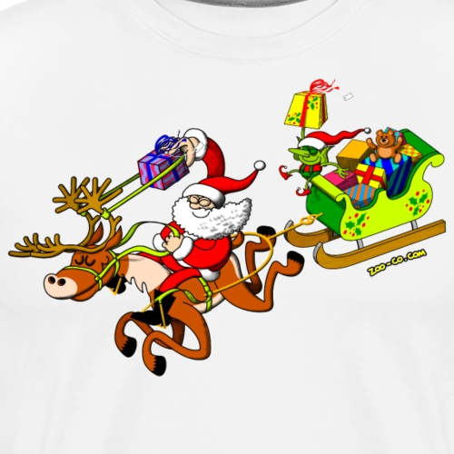 Santa's Gift Delivery with a Slingshot - Men's Premium T-Shirt
