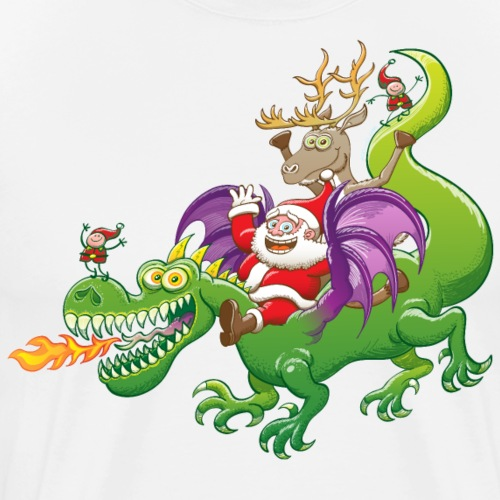 Santa Claus Changed his Reindeer for a Dragon - Men's Premium T-Shirt