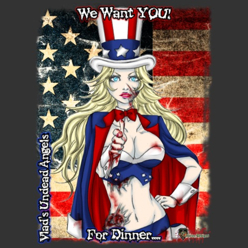 Zombie Patriot Samantha CloseUp Background - Men's Premium T-Shirt