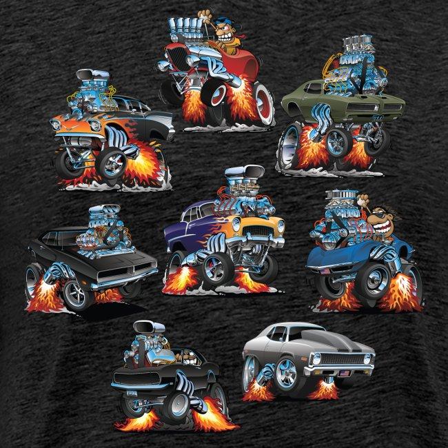 Car Crazy Classic Hot Rod Muscle Car Cartoons