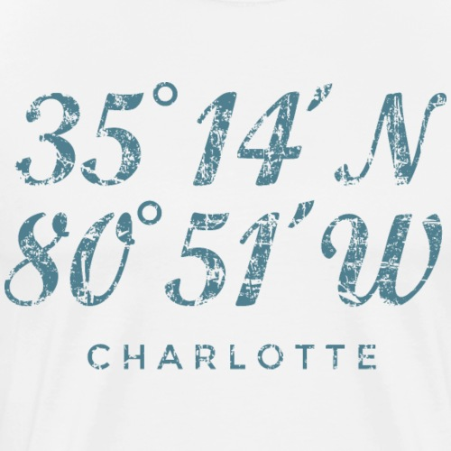 Charlotte North Carolina Coordinates Vintage Blue - Men's Premium T-Shirt