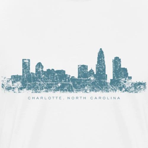 Charlotte, North Carolina Skyline (Vintage Blue) - Men's Premium T-Shirt