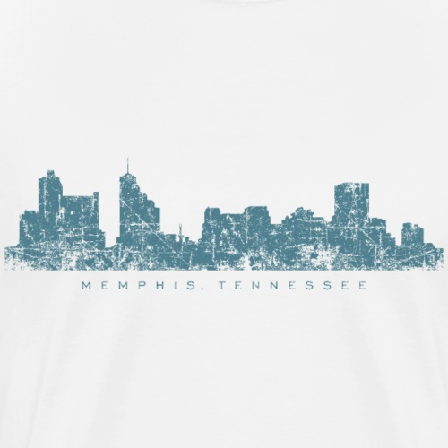 Memphis, Tennessee Skyline (Vintage Blue) - Men's Premium T-Shirt