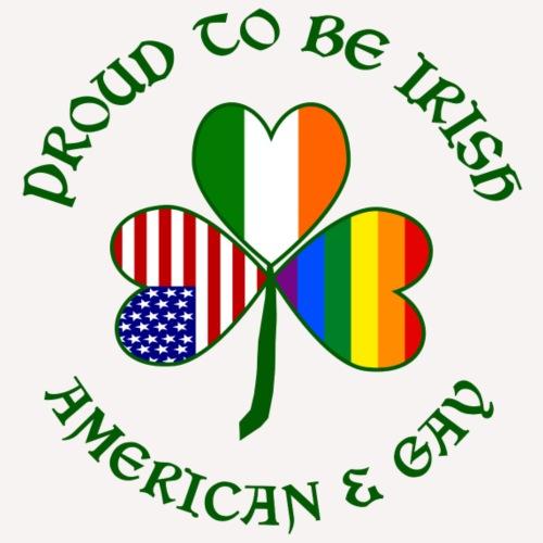 Proud Irish American & Gay Dark Green Shamrock - Men's Premium T-Shirt