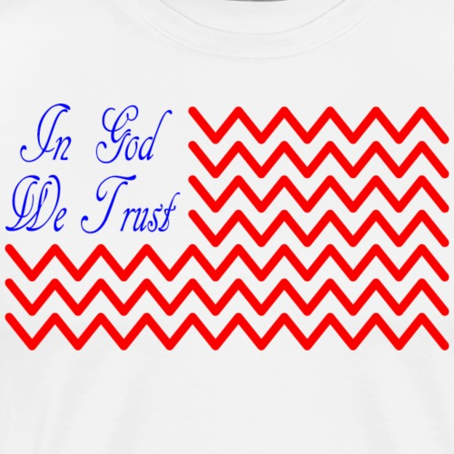 In God We Trust Wave Flag - Men's Premium T-Shirt