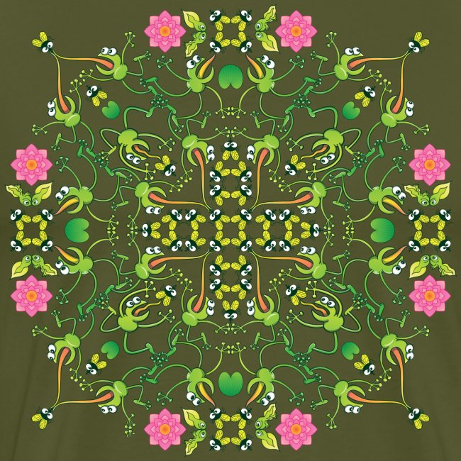 Funny green frogs hunting flies mandala design