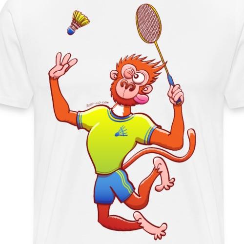 Red Monkey Playing Badminton - Men's Premium T-Shirt