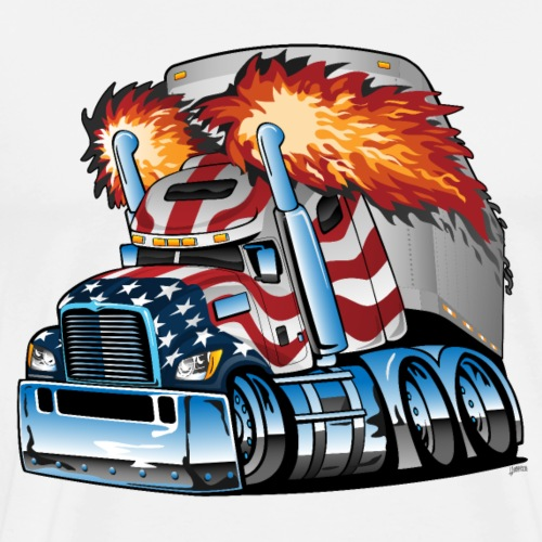 Patriotic American Flag Semi Truck Tractor Trailer - Men's Premium T-Shirt