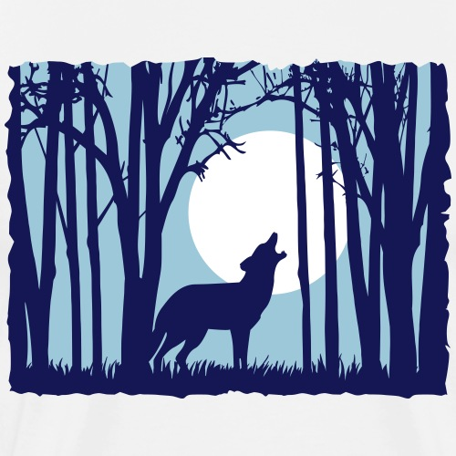 Moon with wolf in the forest sunset moon sunrise - Men's Premium T-Shirt