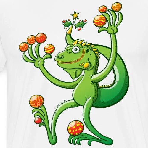 Green Iguana Celebrating Christmas - Men's Premium T-Shirt