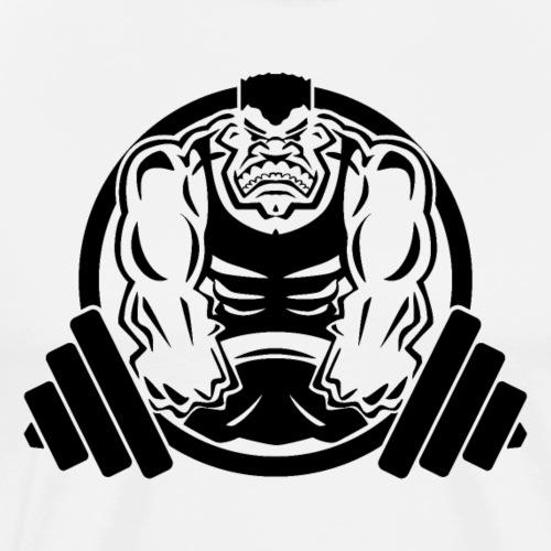 Weightlifting Muscle Fitness Gym Cartoon - Men's Premium T-Shirt