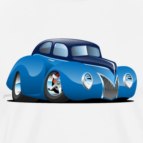 Classic 39 Street Rod Coupe Custom Car Cartoon - Men's Premium T-Shirt