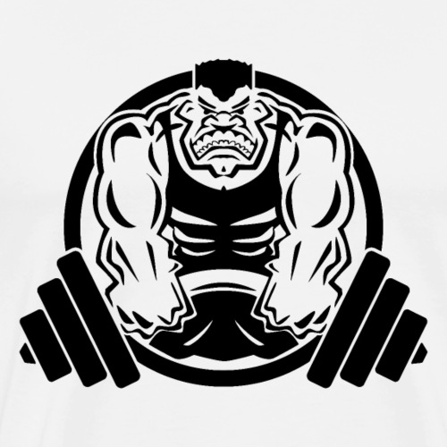 Weightlifting Muscle Fitness Gym Cartoon - Men's Premium T-Shirt