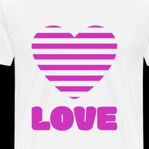 Pink Striped Heart Love - Men's Premium T-Shirt